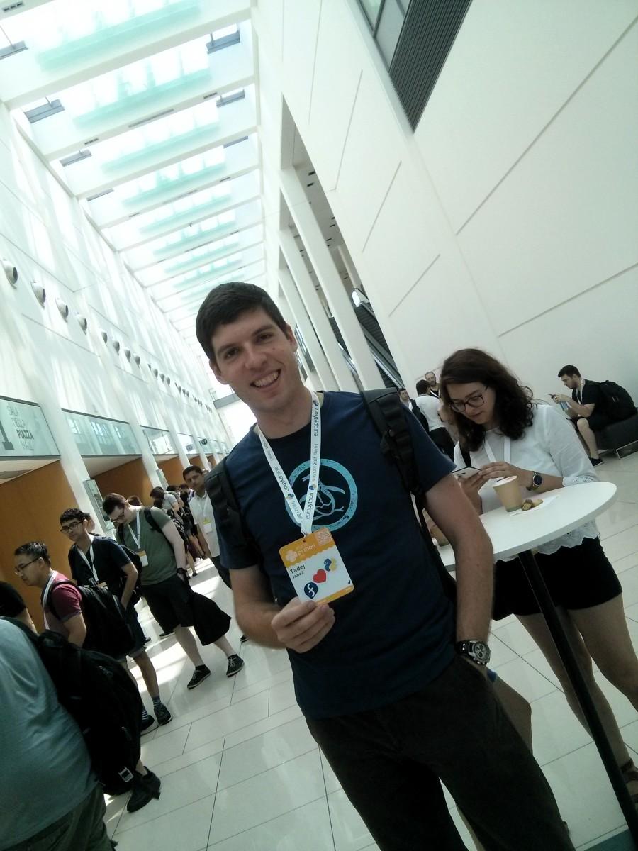 Me holding my EuroPython 2017 badge
